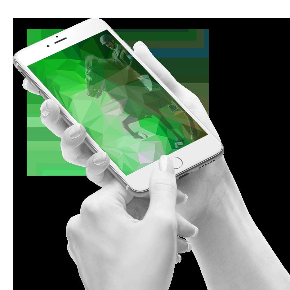 Handy mit Webtölter-Hintergrundbild